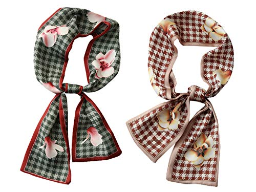 GERINLY Elegant Flower Neckerchief 2 Pack Plaid Purse Scarf for Handbag Fashion Skinny Hair Scarf (2 PCS)
