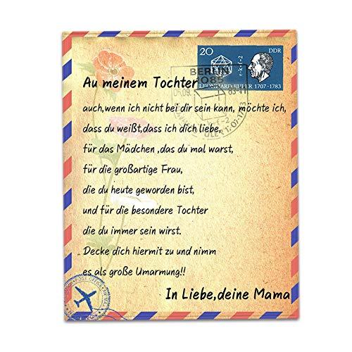 JHWSX Flanell Briefdecke, Warme Luftpost Briefmarke Briefumschlag Plüschdecke Geschenke Tochter/Sohn Decke Wirft,Weihnachten Thanksgiving (Color : Daughter, Size : 150 * 220cm)