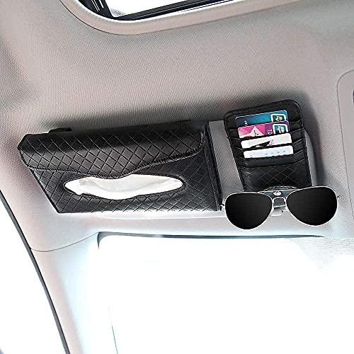 Vozada - Caja de Pañuelos de Coche, Estuches de Clip de Tejido para la Visera de Sol, Organizador de Cuero de la PU para el Automóvil, Soporte de Papel de Asiento