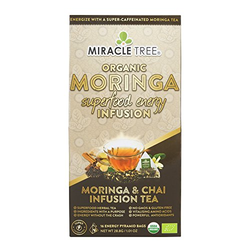 Miracle Tree's Energizing Moringa Infusion - Chai | Super Caffeinated Blend | Healthy Coffee Alternative, Perfect for Focus | Organic Certified & Non-GMO | 16 Pyramid Sachets