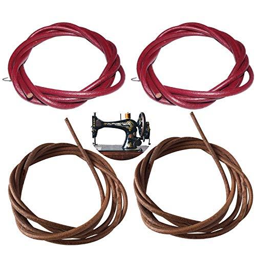 4 correas para máquina de coser, correa de cuero de 1,8 m con ganchos, piezas de repuesto para máquina de coser vintage cantante/Jones pedal de pie accesorios de máquina de coser 5 mm