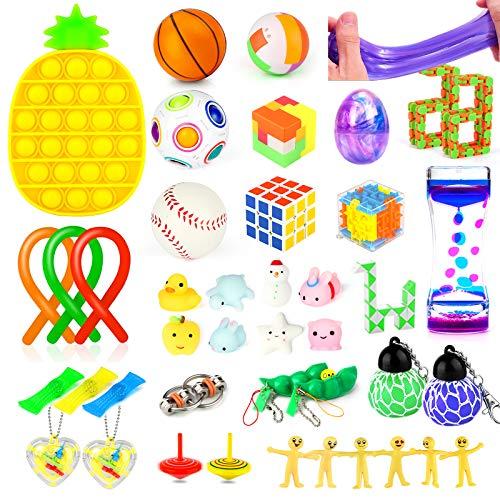 Fidget Toys Set, 43 Pcs Push Bubble Sensory Fidget Toys Sets Stress Relief and Anti-Anxiety Hand...