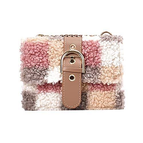 Bolsos Bandoleras Mujer Baratos Plush Bolso de Hombro Cuadrado Pequeño de Tela Escocesa Shopping Diseño y Calidad Práctico Cómodo y Resistente LANSKIRT