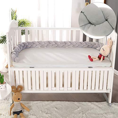 VIVILINEN 2M Bettumrandung Baby Nestchen Geflochten Bettschlange Babybett Stoßstange Kantenschutz Kopfschutz Dekoration für Krippe Kinderbett (Grau)