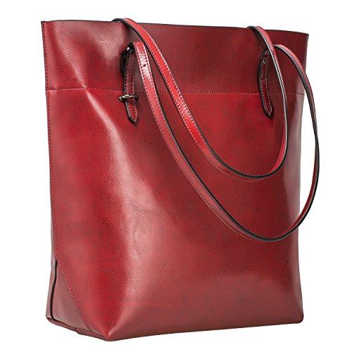 S-ZONE Damen Echtleder Tasche Shopper Groß Tote Handtasche Henkeltasche (C-wine Rot)