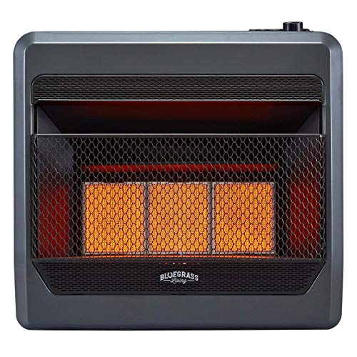 Bluegrass Living B30TNIR-BB Natural Vent Free Infrared Gas Space Heater with Blower and Base Feet-30,000, T-Stat Control, 30,000 BTU, Black