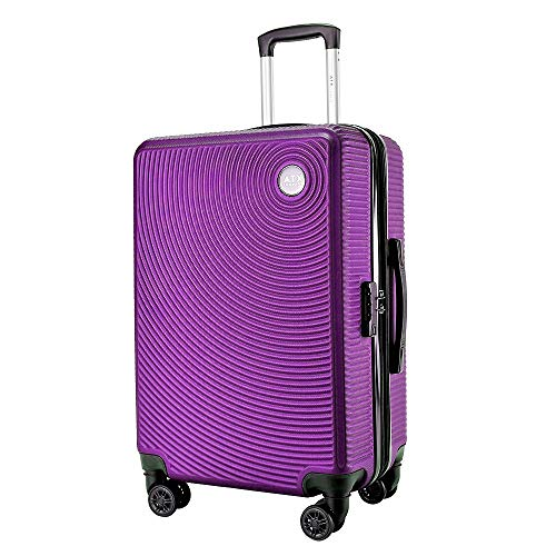 29' Large Expandable Super Lightweight Durable ABS Hard Shell Hold Luggage Suitcases Travel Bags Trolley Case Hold Check in Luggage with 8 Wheels Built-in Lock (29' Large, Purple 007)