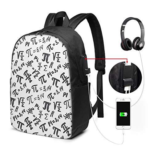 Laptop Rucksack Business Rucksack für 17 Zoll Laptop, Pi Symbol Muster Mathematik Schulrucksack Mit USB Port für Arbeit Wandern Reisen Camping,für Herren Damen