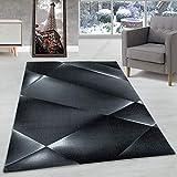 Carpettex Teppich Alfombra de diseño Pelo Corto Alfombra de Sala Patrón de Abstracto Negro, Color:Negro, Tamano:160x230 cm