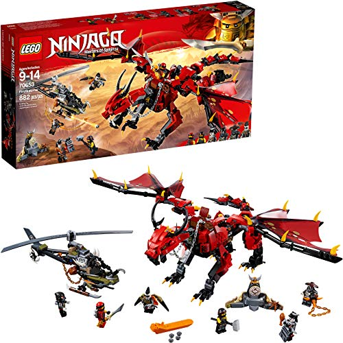 LEGO NINJAGO Masters of Spinjitzu: Firstbourne 70653 Ninja Toy Building Kit with Red Dragon Figure, Minifigures and a Helicopter (882 Pieces)