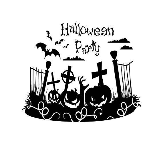 COOGG Halloween Dekorative Wandaufkleber Cartoon Hexe Fledermaus Kürbis Lampe Schwarze Katze Kinderzimmer Wohnzimmer DIY Wandbilder