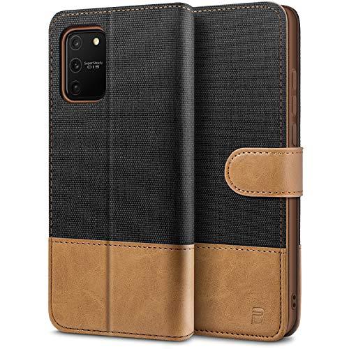 BEZ Handyhülle für Samsung Galaxy S10 Lite Hülle, Tasche Kompatibel für Samsung Galaxy S10 Lite, Schutzhüllen aus Klappetui mit Kreditkartenhaltern, Ständer, Magnetverschluss, Schwarz