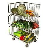 Juego de Estante de Cocina de Acero Inoxidable 304 de 2/3/4/5丨Cesta de almacenaje de Piso de descarga丨Cesta de Fruta Vegetal (Tamaño : 3 Tier)