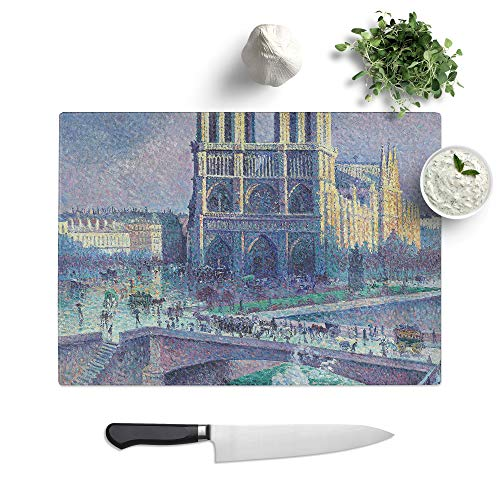 Glass Chopping Board - Maximilien Luce Notre-Dame Paris - Textured Worktop Saver Cutting Board - Heat Resistant, Shatterproof and Hygenic - 28.5 x 20 cm