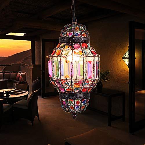 HUUSYGZH Lámpara de Mosaico única Lámpara, Estilo marroquí Lightshade Retro Metal Acrílico Gema Acrílico Adornado Colgante Luz Sombra Ajuste con 7 Colores Beads Diámetro 20 cm