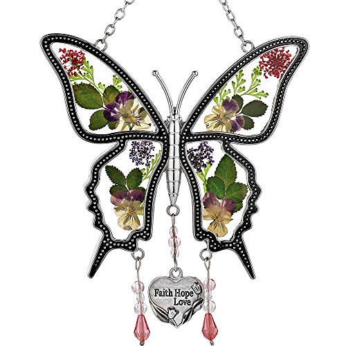 Butterfly Suncatcher Glass Butterfly Suncatchers Wind Chime with Pressed Flower Wings Embedded in Glass with Metal Trim Faith Hope Love Heart Charm Sun-Catchers Gifts for Mother day for Mom Birthdays