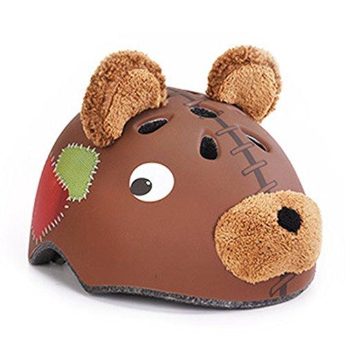 Lommer Casco para niños, con forma de oso, ajustable, para ciclismo, patinaje,...