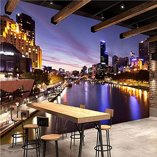 Preisvergleich Produktbild Yologg Hd Stadt Nacht Landschaft Sonnenuntergang Fototapete Restaurant Cafe Wohnzimmer Hintergrund Wandbild 3D Vlies Wohnkultur Fresken-280X200Cm