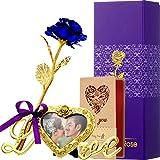 Rosa Artificial de Hoja de Oro con Base de Marco de Foto de Amor y Tarjeta de Felicitación, Flor de Plástico Regalo Romántico Rosa para Novia Esposa Encantadora Dama Amante en San Valentín (Azul Real)