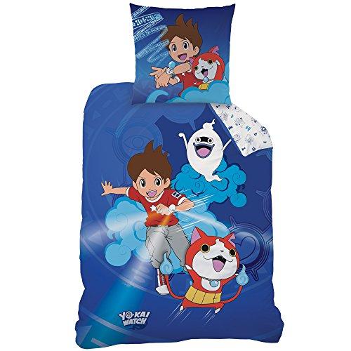 Yo-Kai Watch 044788 Gang Parure de lit en Coton renforcé, Bleu, 135 x 200 cm