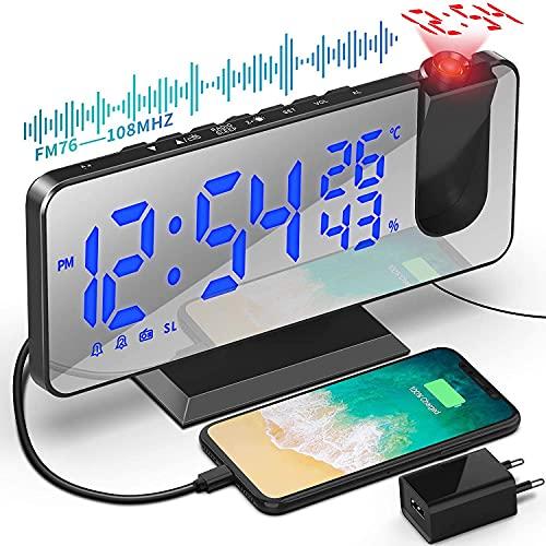 Sveglia con Proiettore da 7,5 Pollici Sveglia Radio Sveglia Digitale da Comodino con Proiettore con Rotazione di 180 ° Luminosità Regolabile con Temperatura Umidità e Uscita USB Ricarica