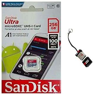 SanDisk Ultra 256GB MicroSD XC Class 10 A1 UHS-1 Mobile Memory Card up to 100MB/s Read Speed (SDSQUAR-256G-GN6MN) with Min...
