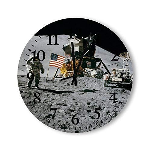 Tamengi NASA Moon Landing Apollo 15 Lunar Module 1971 Reloj de pared redondo, Rústico Silencioso, Cabina, Casa de campo, Decoración para el hogar, Hecho en Estados Unidos