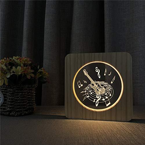 Lámpara de noche Guitar Music Circle 3D LED en forma de lámpara de mesa arílica Lámpara de talla para nuestra habitación Decorar