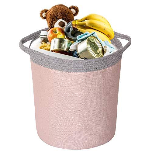 Miracle Baby Cesta Plegable Colada, Cesta Tela Almacenaje Infantil Impermeable,Cesta de Almacenamiento con doble Tela Capa para Organizadoras Juguetes Ropa(Rosa + gris),38 x 33cm