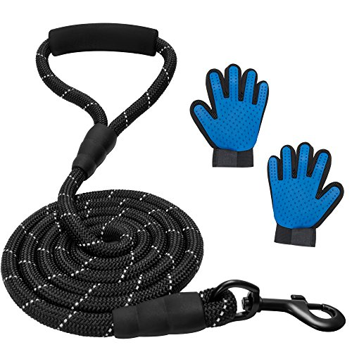 Simar Best Trading - Extremely Heavy Duty Dog Leash for Medium and Big Dogs 6 ft Long Leash Extremely Durable and Grooming Pair of Gloves for Washing and Massaging Pets