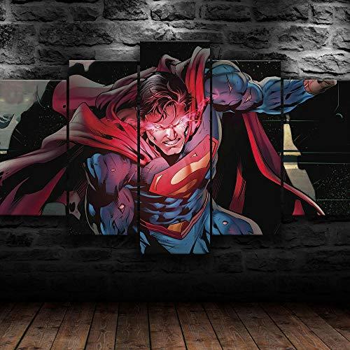 KOPASD Calor Vision Comic Super Hero 5 Panel Lámina del Paisaje del Arte impresión en Lona Cuadros de la Pared de la Foto,para el hogar decoración Moderna impresión