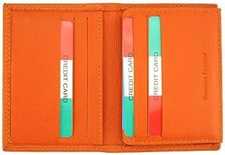 Porta-carte di credito uomo arancione in pelle 16x10.5 cm - Elia - Made in Italy