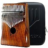 Moozica 17 teclas Kalimba, piano marimba de pulgar de madera de tono sólido de alta calidad con estuche protector e instrucción de aprendizaje (Acacia Koa-K17K)