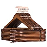 Smartor Wooden Hangers,Wood Coat Hangers,Heavy Duty Hangers for Coats with Rose Gold Hook,Natural Smooth Finish Premium Wood Hangers for Clothes Suit(20 Pack,Walnut)
