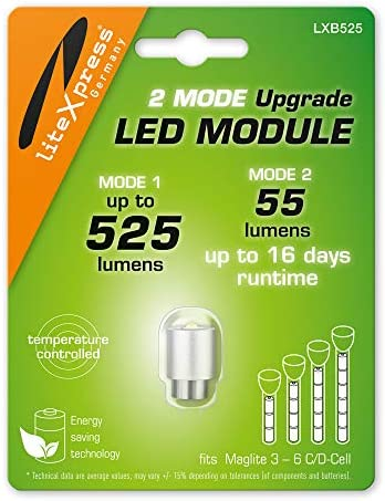 LiteXpress LXB525 2Mode LED Upgrade Modules 525 or 55 Lumens for 3 6 C D Cell Maglite Flashlights product image