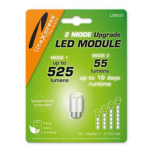 LiteXpress LXB525 - Módulo de actualización LED (2 Modos, 525 o 55 lúmenes, para linternas Maglite de 3 a 6 C)