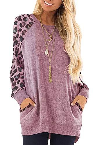 Magritta Damen-Langarm-T-Shirt mit Taschen, Rundhalsausschnitt, lockeres Sweatshirt Gr. Large, Violettfarbenes Leopardenmuster