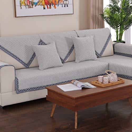 QYN Algodón Reversible Funda para Sofá, Anti-Slip Dustproof Weaved Couch Slipcover Cuatro Temporadas Cubierta Espesa Universal para Perros Niños -k 110x160cm(43x63inch)