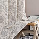 Paisley Scroll Printed Linen Curtains Grommet Top - Medallion Design Jacobean Floral Printed Curtains Burlap Vintage Living Room Curtain Panels Grey on Beige 72 inch Long One Pair