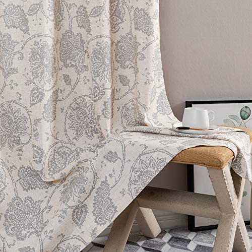 Floral Scroll Printed Linen Curtains, Grommet Top - Ikat Flax Textured Medallion Design Jacobean Curtains Retro Living Room Window Curtains (Grey, 90 inch Long, Set of Two)