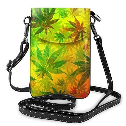 Bolso ligero del teléfono celular de la PU, hojas de marihuana Rasta pequeñas Crossbody Bolsos de hombro cartera Pounch bolso para las mujeres