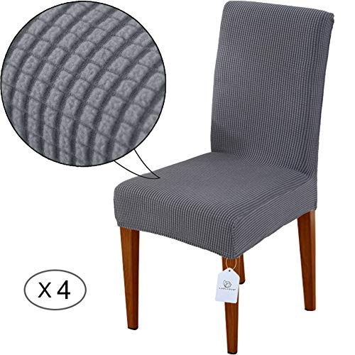 LUOLLOVE Stuhlhussen, Stretch Abnehmbare Waschbar Stuhlbezug für Esszimmerstühle,Stretch Stuhl Mit Gummiband für Esszimmer(4er,Grau)