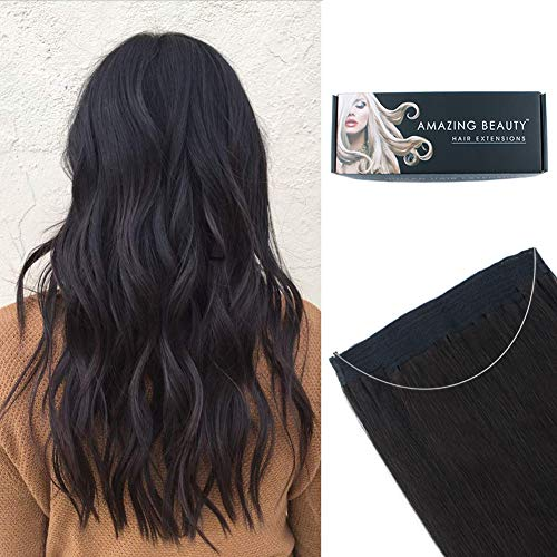 ABH AmazingBeauty Hair Halo Hair Extensions - Invisible Miracle Wire Remy Human Hair, Off Black 1B, 20 Inch