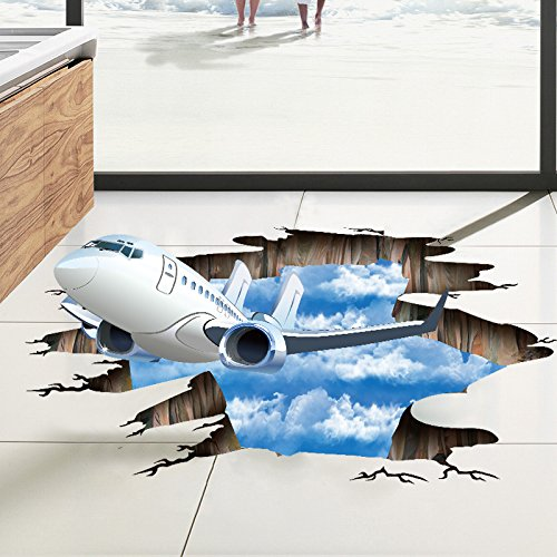 HGFHFHIO Living Room Bedroom Wall Decoration 3d Wall Stickers Blue Sky And White Clouds Planes Break Through The Wall Pvc Removable Three-Dimensional Floor Stickers Decorative Painting