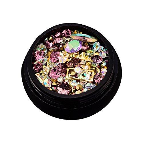 Nagelkunst-Strassstein-Set für Nagelkunst-Dekorationen, Nagelperlen, Glitzerkristalle, Nagelkunst-Dekorationen, Kristalle, Charm, Diamant-Edelstein-Aufkleber (rosa lila)