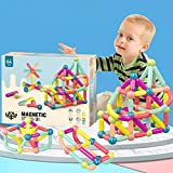 64 PCS Magnetic Balls and Rods Building Sticks Set Vibrant Colors Different Sizes Curved Shapes Children Educational Stacking STEM Toys for Kid Age 3+