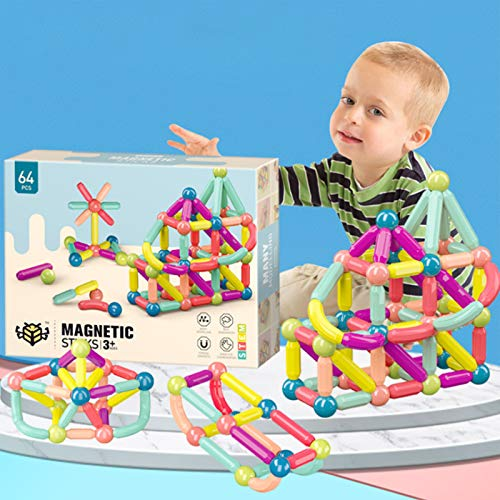 64 PCS Magnetic Balls and Rods Set Building Sticks Blocks Vibrant Colors Different Sizes Curved Shapes Children Educational Stacking STEM Magnet Toys for Kids Age 3+