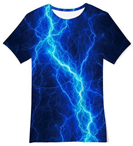 Funnycokid Jungen Mädchen T-Shirt 3D-Beleuchtung Grafik Sommer Kurzarm Rundhals Top Tee T-Shirt Kinder Casual Shirt Alter 14-16 Jahre