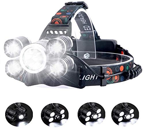 Linterna frontal LED Recargable de Trabajo, 8000 Lúmenes, 4 Modos de Luz con...