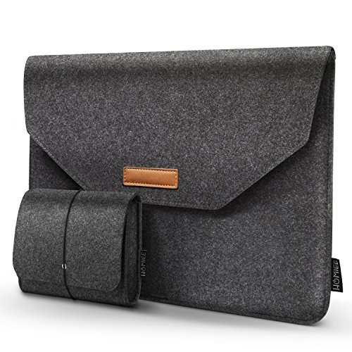 HOMIEE 15-15.4 Inch Felt Laptop Sleeve Case for 2019 MacBook Pro 16 Inch, 15 Inch MacBook Pro A1990 A1707 A1398 A1417, Dell XPS 15, Dell Inspiron 7000 Pro 15.6, HP Envy X360 and Pavilion 15, Dark Grey